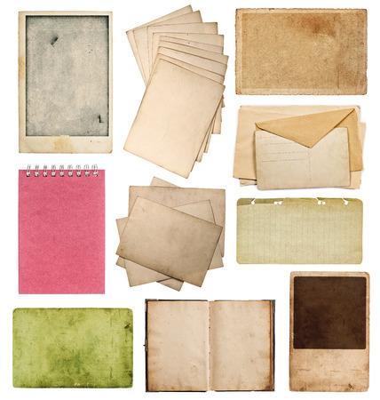 set of various old paper sheets  vintage photo album and book pages, cards, pieces isolated on white background