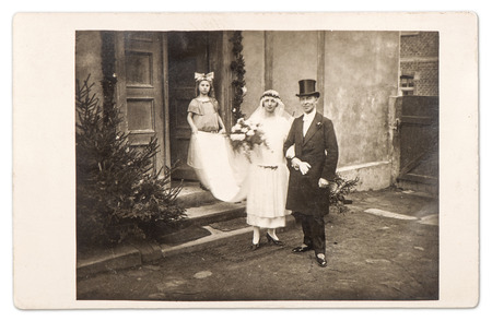 just married couple  vintage wedding photo from ca 1910 in Berlin, Germany photo