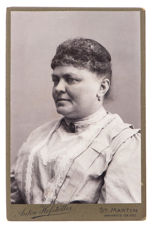 forefathers: antique portrait of woman wearing vintage clothing, circa 1900 in St  Martin, Germany Stock Photo
