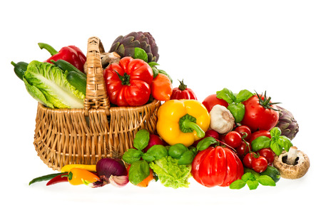 products food: shopping basket with healthy fresh vegetables  organic diary products  food nutrition Stock Photo