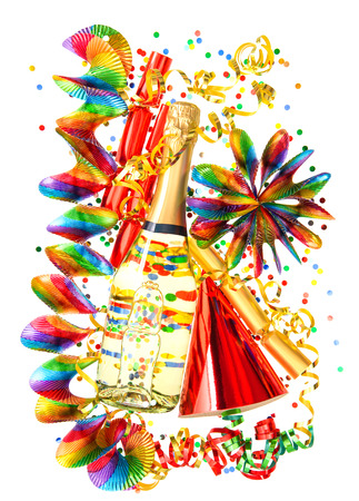 colorful party decoration with garlands, streamer, cracker, confetti and wine bottle  holidays background photo
