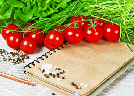 cook book: open recipe book with vegetables  tomatoes, chives and spices  healthy food Stock Photo