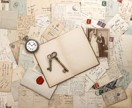ancestors: antique letters and postcards, old weding photo  nostalgic vintage background Stock Photo