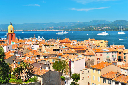 Beautiful view of Saint-Tropez with seascape and blue sky  France, Provence, Mediterranean Sea