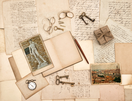 old letters, vintage accessories, diary and photos from Florence  Nostalgic sentimental background