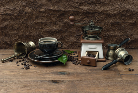 vintage still life with cup of coffee and antique accessories  retro style image photo