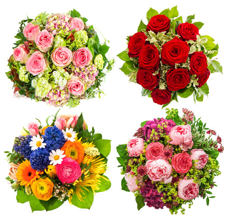 colorful flowers: four colorful flowers bouquet for Birthday, Wedding, Mothers Day, Easter, Holidays and Life Events Stock Photo