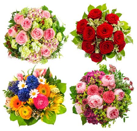 ramo de flores: Ramo de cuatro flores de colores para el cumplea�os, boda, D�a de la Madre, Semana Santa, Fiestas y Eventos de la vida