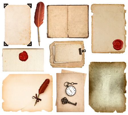 set of various old paper sheets  vintage book pages, cards, photos, pieces isolated on white background  antique vintage accessories ink pen and wax seal photo