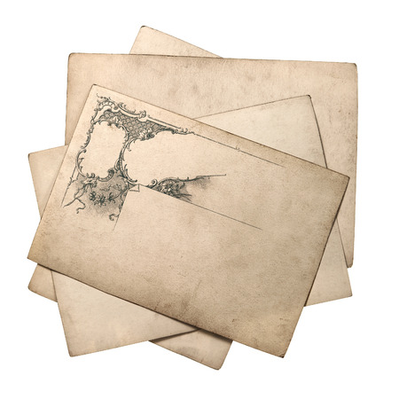 old paper card with vintage ornate pattern isolated on white background photo