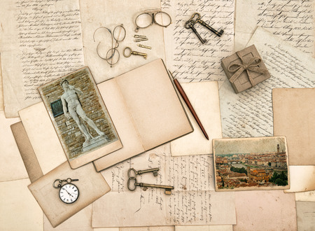 old letters: antique accessories, old letters, diary book and photos from Florence  Nostalgic sentimental