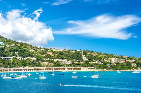 villefranche sur mer: french riviera, view of luxury resort and bay of Villefranche-sur-Mer near Nice and Monaco