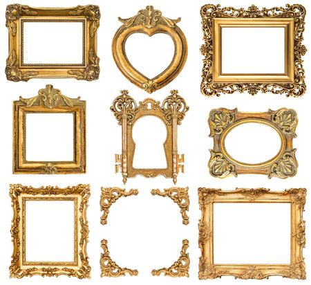 Set di cornici dorate isolato su bianco antico stile barocco oggetti d'epoca Archivio Fotografico - 30100248