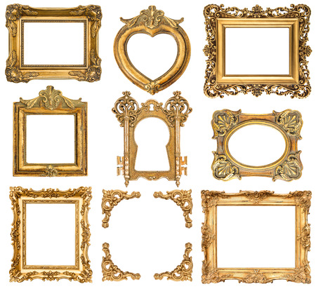 set of golden frames isolated on white baroque style antique objects  vintage