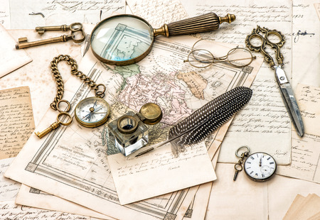 antique office accessories, old handwritten mails and vintage ink pen Stock  Photo - 30109329 - Antique Office Accessories, Old Handwritten Mails And Vintage