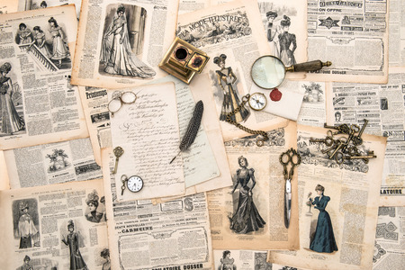 antique office accessories, writing tools, vintage fashion magazine for the woman from 1898  retro style toned picture photo