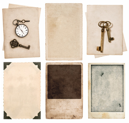 vintage photo cards and old paper sheets isolated on white  photo