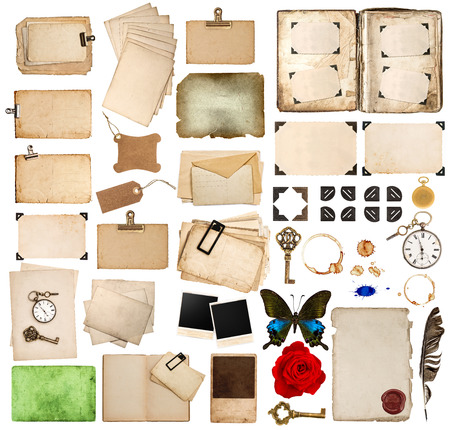 corner clock: scrapbooking elements. vintage photo album and book pages, paper sheets, cards, corner and frames isolated on white background