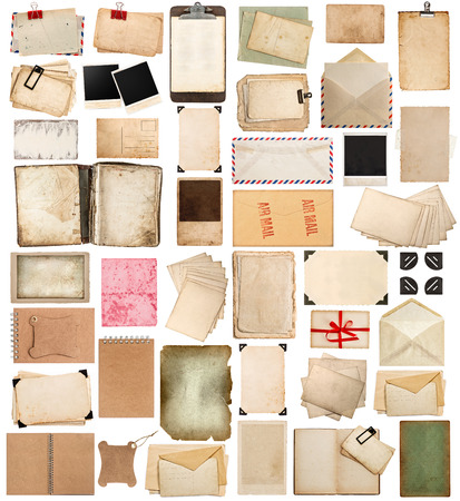 aged paper sheets, books, pages and old postcards isolated on white background. vintage photo frames. antique clipboard and photo corner Banco de Imagens