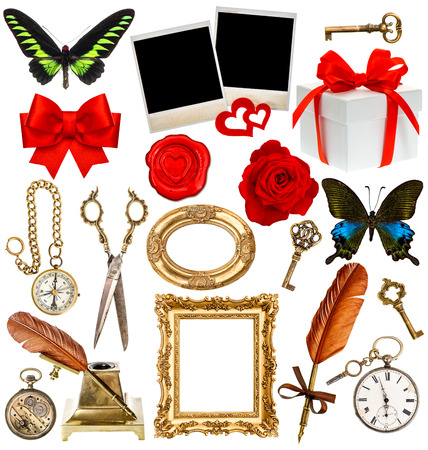 objects for scrapbook. paper page, antique clock, key, postcard, photo frame, feather pen, inkwell, glasses, compass, scissors, flower, butterfly, red ribbon bow, gift box photo