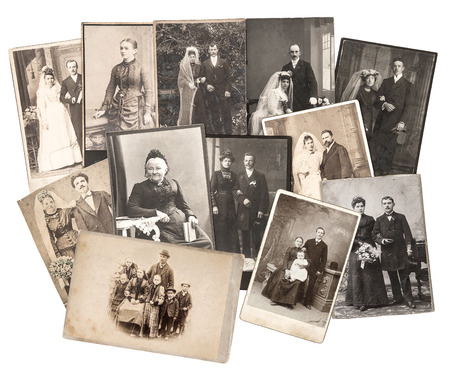group of vintage family and wedding photos circa 1885-1900. nostalgic sentimental pictures collage on white background. original photos with scratches and film grain