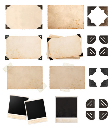 vintage paper card with corners and tapes, photo cardboard, instant photo, postcard isolated on white background