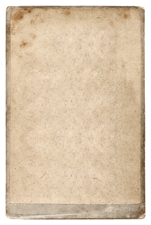old photo cardboard isolated on white. aged paper background photo