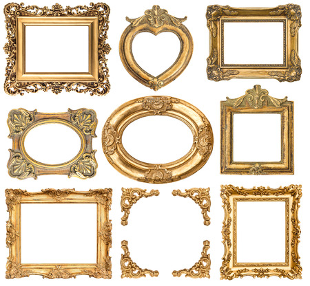 group picture: golden frames isolated on white background. baroque style antique objects. vintage background for your photo, picture, image Stock Photo