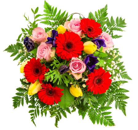 Fresh colorful spring flowers arrangement pink roses red gerbera bouquet of colorful spring flowers over white background pink roses red gerbera yellow tulips mightylinksfo