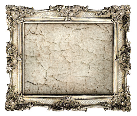 old silver frame with empty grunge canvas with cracks for your picture, photo, image  beautiful vintage background Stock Photo