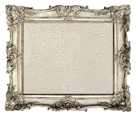 old silver frame  empty grunge canvas with cracks for your picture, photo, image  beautiful vintage background