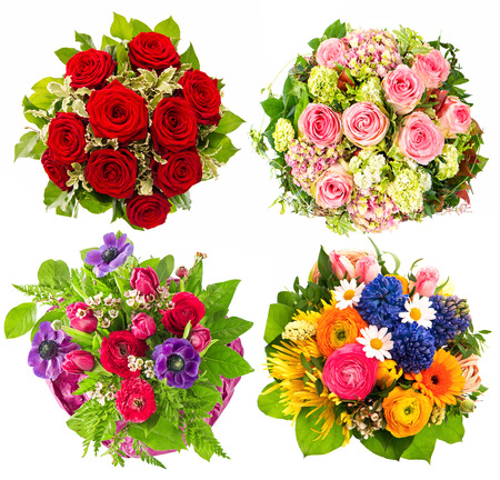 flower arrangement: Set of colorful flowers bouquet isolated on white background  Festive arrangement for Birthday, Wedding, Mothers Day, Easter, Holidays and Life Events