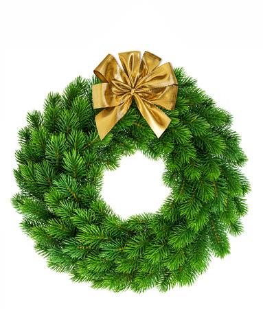 christmas wreath with golden ribbon bow decoration isolated on white background
