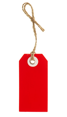 gift tag: red tag with string isolated on white background  price sticker  label