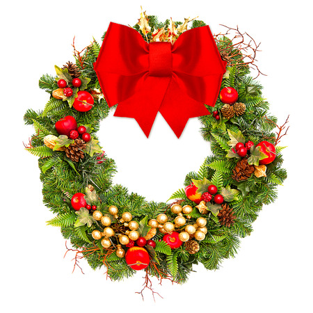 apple christmas: christmas wreath with red ribbon and golden decoration isolated on white
