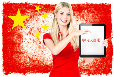 Young woman holding tablet pc with sample text Learn Chinese  National flag of China at the background  Chinese language learning concept  Collage photo