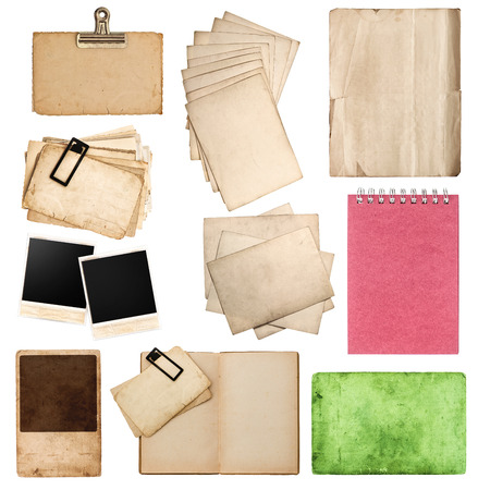 set of various old paper sheets and pictures  vintage photo album and book pages, cards, pieces isolated on white background Stock Photo