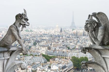 ノートルダム ・ ド ・ パリからの眺めの背景にパリ市内で石悪魔ガーゴイルとキメラ 写真素材