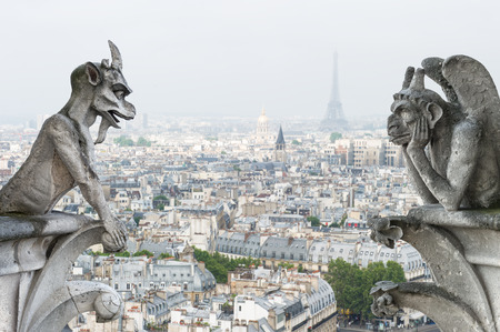 notre dame cathedral: Stone demons gargoyle und chimera with Paris city on background  View from Notre Dame de Paris