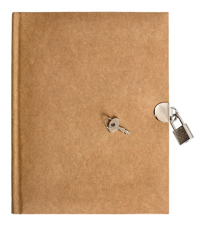 nature colored retro diary book with lock and key isolated on white background photo