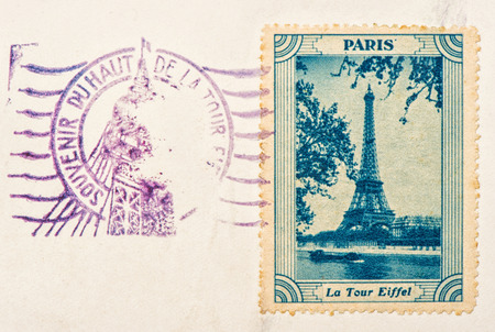 place of interest: vintage stamp with Eiffel Tower, the most visited place of interest  Paris, France
