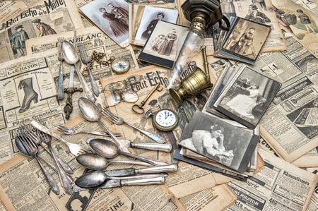 Antique french and german goods, vintage photos and papers photo