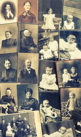 Viejas fotos de familia padres, abuelo; abuela; niños imágenes nostálgicas de la vendimia de ca 1900 Foto de archivo - 30537255