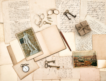 old letters, vintage accessories, diary and photos from Florence  Nostalgic sentimental background photo