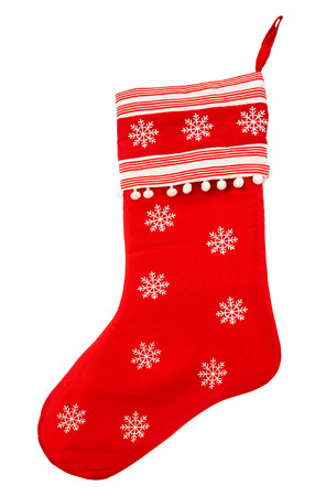 stockings: red christmas sock with snowflakes for Santa gifts on white background  holidays symbol