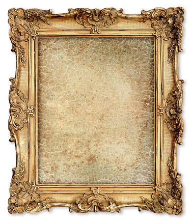family picture: old golden frame with empty grunge cracked canvas for your picture, photo, image  beautiful vintage background