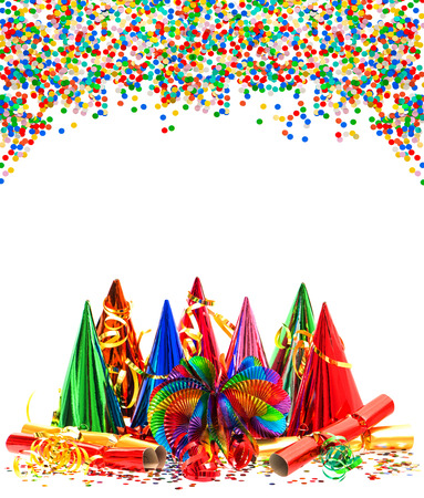 party time: colorful garlands, streamer, party hats and confetti  carnival  birthday  new year