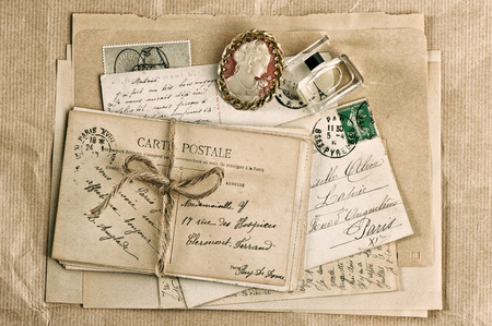 old french postcards and accessories  nostalgic vintage background photo
