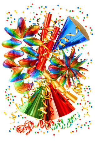 party popper: colorful background with garlands, streamer, cracker, party hats and confetti  festive carnival, new year or birthday decoration Stock Photo