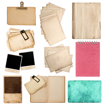 collection of various old paper sheets and pictures  vintage photo album and book pages, cards, pieces isolated on white background photo